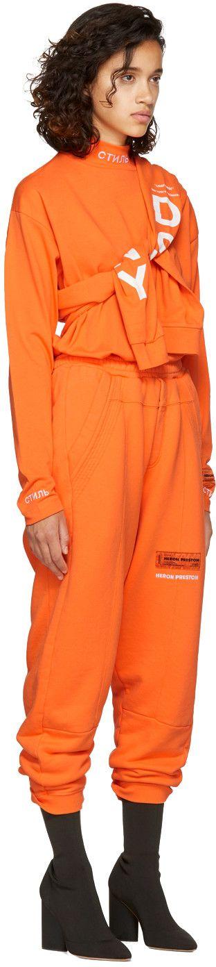 Heron Preston - Orange Long Sleeve 'CTNMB' T-Shirt