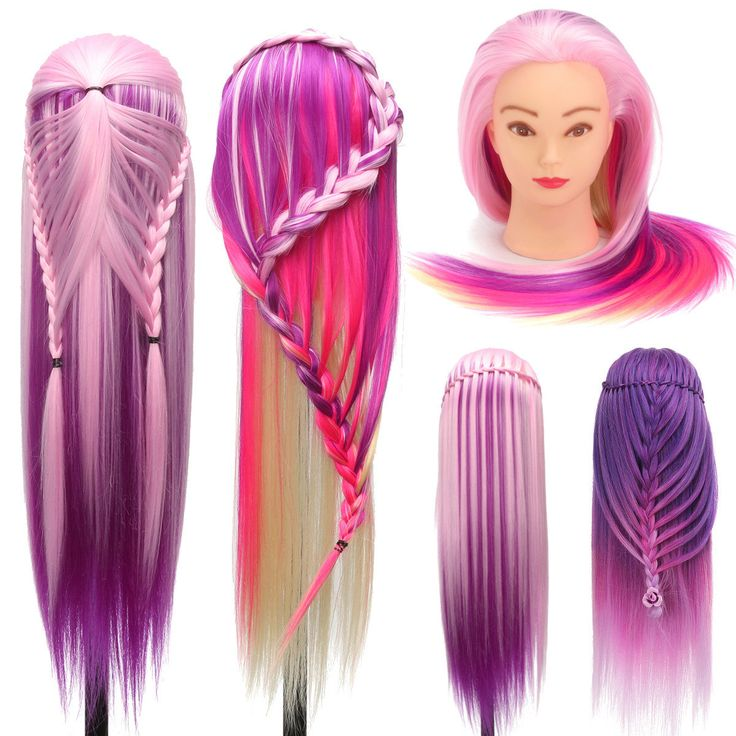 27 Inch Hairdressing Training Head Model High Temperature Fiber Long Hair With Clamp Stand Practice