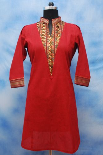 Handloom Mehroom Formal Kurti, 100% cotton, V- yoke with embroidery, Golden border on sleeves and neckline.