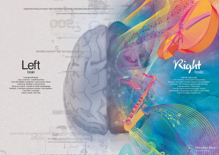 I am definitely Left Brain except for the master of words part Lol...(Left Brain/Right Brain by Shalmor Avnon Amichay/Y Interactive for Mercedes Benz #Illustration #Ad #Brain)