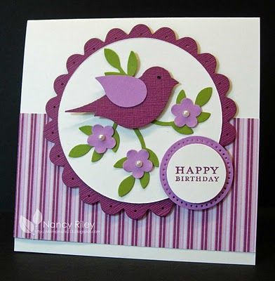 handmade card from i STAMP by Nancy Riley ... two step bird  with puched leaves and flowers form the focal point ... maroon and lavende ...  ... luv the finished look with punching in the mat layers ... great card ... Stampin'Up!