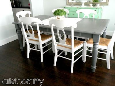 Aristocrafty: Painted Tables: Gray Tables,  Boards, White Chairs, Paintings Tables, Painted Tables, Kitchens Tables, Grey Tables, Gray Kitchens, Dining Tables
