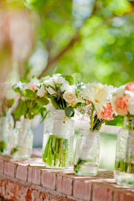 Flowers in Mason or Ball jars for garden party