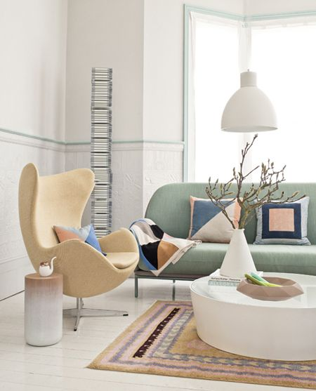 Mod Goes Pastel In This Softly Coloured Living Room   via You Magazine   photo David Cleveland   House & Home