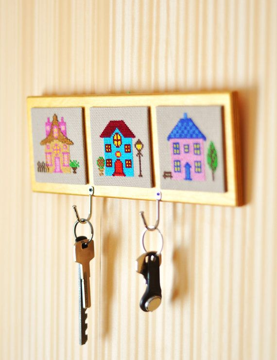 Key Holder Wall Home Decor Key Rack Embroidery Cross