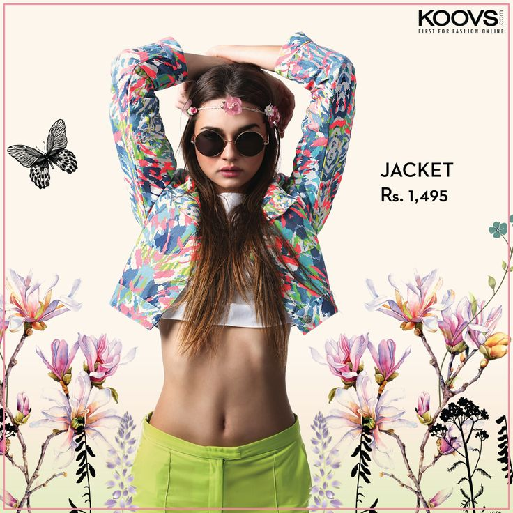 KOOVS Multi Print Crop Jacket