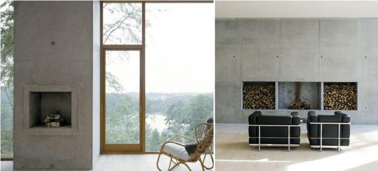 Simplistic Concrete Fireplaces Fire Pinterest