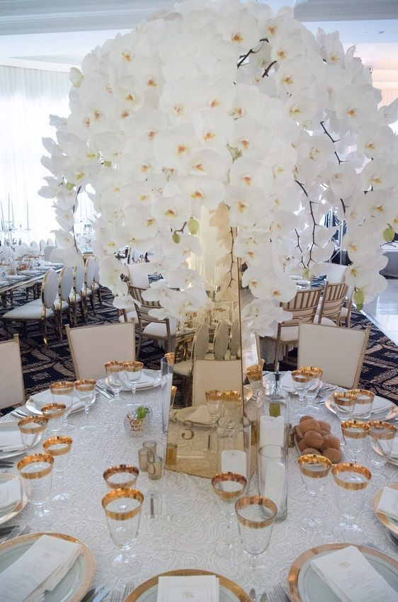 White Orchid Wedding Centerpiece With Gold Table Accents Birch