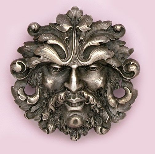 """136. Carved sterling silver brooch of the """"north wind"""". G. Walter, France . Classic piece of Art Nouveau jewelry. Art Nouveau, Revival, & Arts and Crafts Jewelry at Nelson Rarities, Inc."""