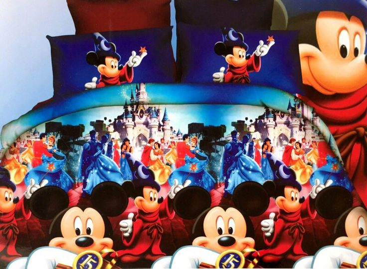Mickey Mouse and Disney Land Bed Sheet Every child's Dream  Kids cartoon glace cotton bedsheet