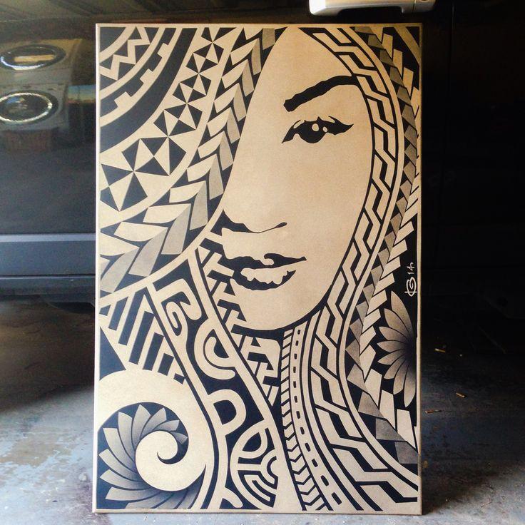 Polynesian girl painting