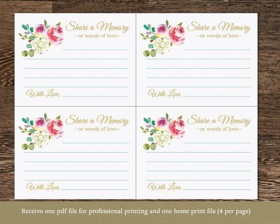 You Edit Share A Memory Card Printable Editable Template Etsy Memory Jar Printable Memory Cards Memorial Cards