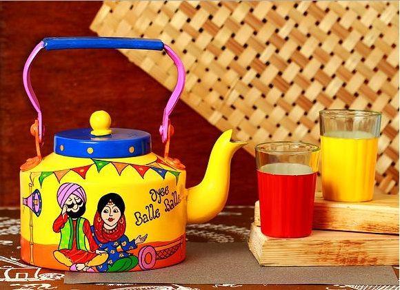 Handpainted Kettle Indian Oyee Balle Balle !!!   #handpainted   #homedecor   #homeimprovement   #balleballe #kettle #glasses #mumbai