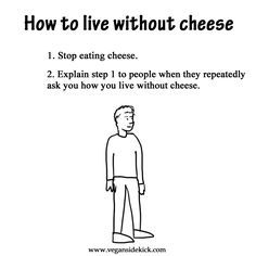 Cheese - yes, it is that easy to live without....no problem. Go Vegan! – More at http://www.GlobeTransformer.org