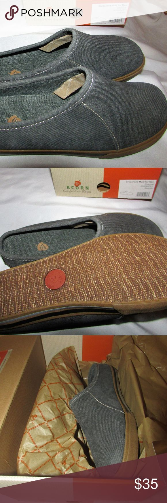 Men's Acorn Crossroad Mule for Men Charcoal Size 8 Discover why people fall in love with their Acorns.  They're made to look good and feel even better.  This easy and versatile style is crafted of the best materials to be comfortable from the inside out.  Relax and experience comfort on earth with Acorn. These shoes are new in the box. Acorn Shoes Loafers & Slip-Ons