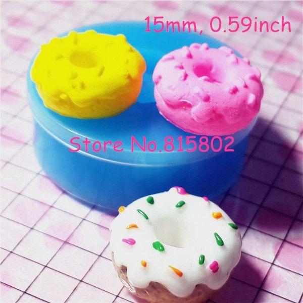 Tyl001u de Donut / rosquinha com polvilha Silicone flexível empurre Mold miniatura alimentos doces encantos jóias argila Fimo