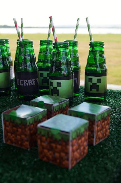"""You could print out the grass blocks & put them in """"golf ball display cases"""" ($2 each at Hobby Lobby) as goodie boxes - cute!"""