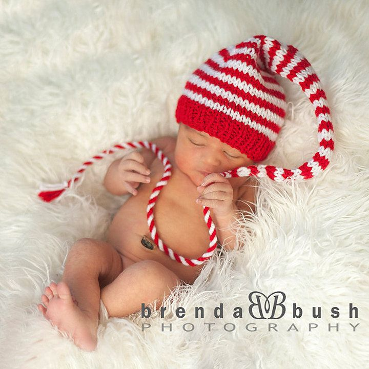 Newborn baby christmas hat knit baby photo prop long stocking cap unisex red white stripe pixie beanie pick color munchkin hat coming home