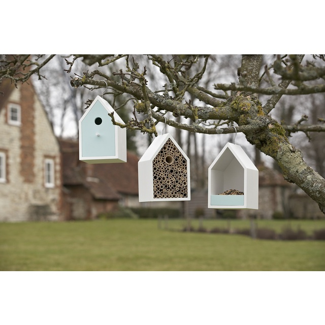 Bird nesting houses and insect hotels.