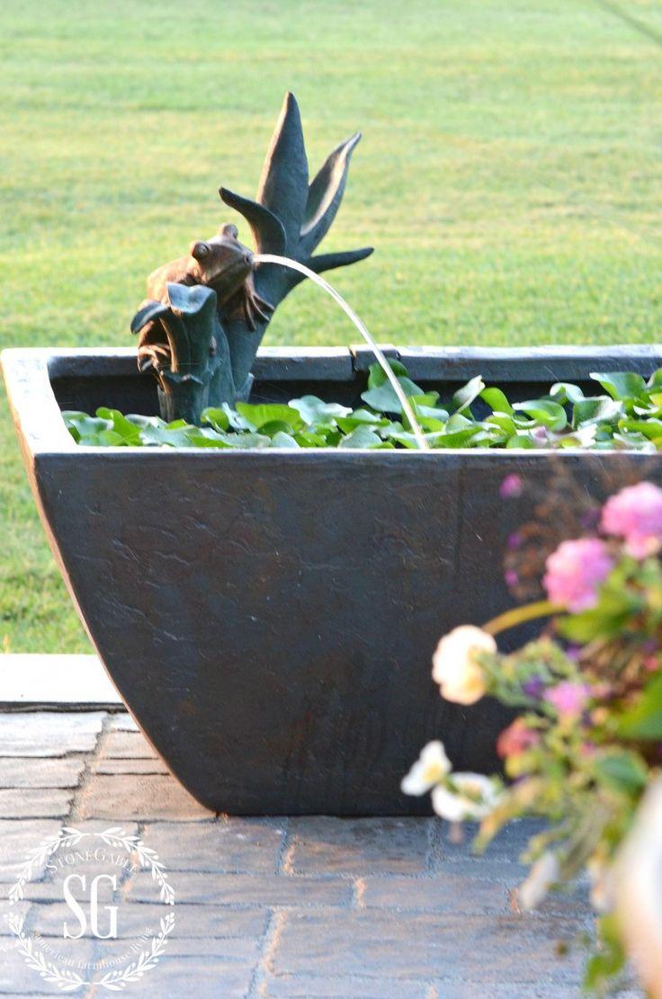 square patio pond - love the cute little frog spouting water stonegableblog.com