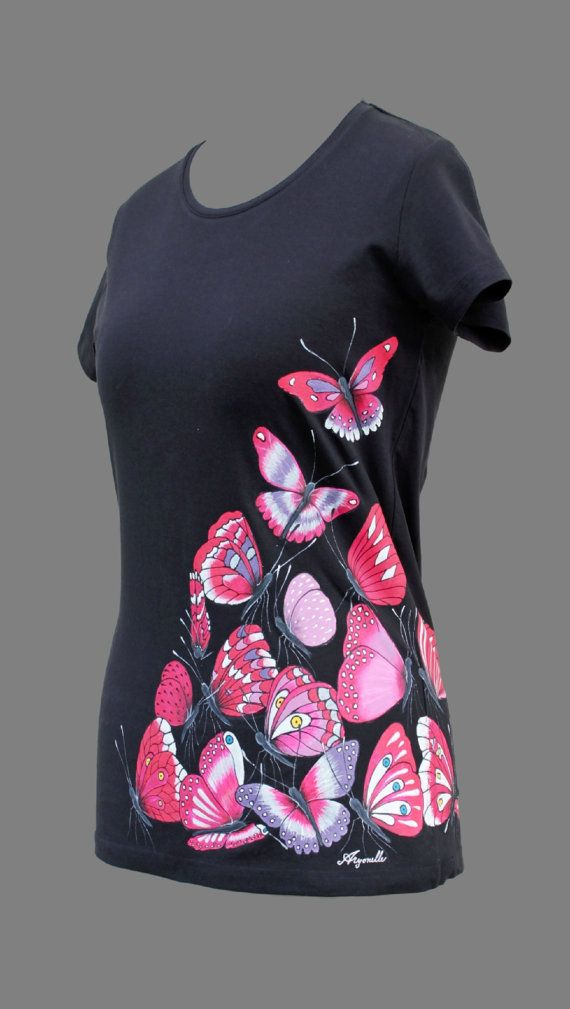 Hand-painted T-shirt-Butterfly's by Aryonelle on Etsy