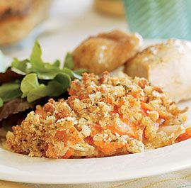 Sweet Potato-Russet Potato Gratin with Horseradish & a Dijon Crust