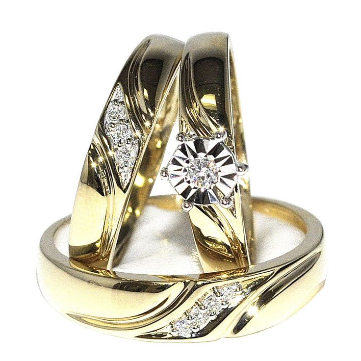 His And Her Trio Wedding Rings Set 10K Yellow Gold 012cttw I J