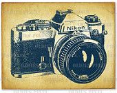 Vintage Nikon fotocamera linea arte illustrazione a mano disegno Digi immagine Clipart Instant Download Download immediato Art Design PNG L125