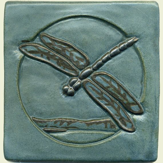 Kitchen backsplash Craftsman style 6 Dragonfly Tile by RavenstoneTiles on Etsy.