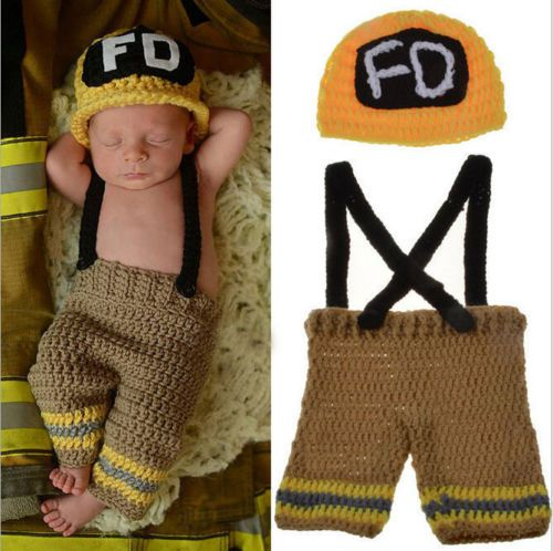 Newborn-Baby-Boy-Crochet-Firefighter-Photography-Props-Costume-Clothes-Set-2015