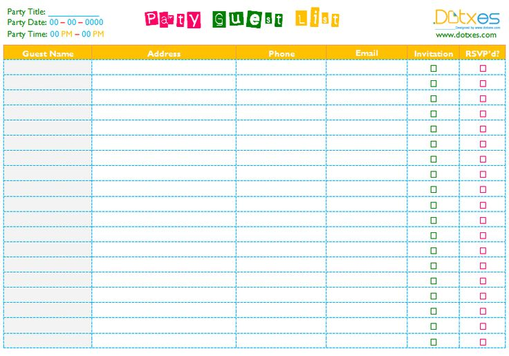 A party guest list template to help you in party task List - contacts template word