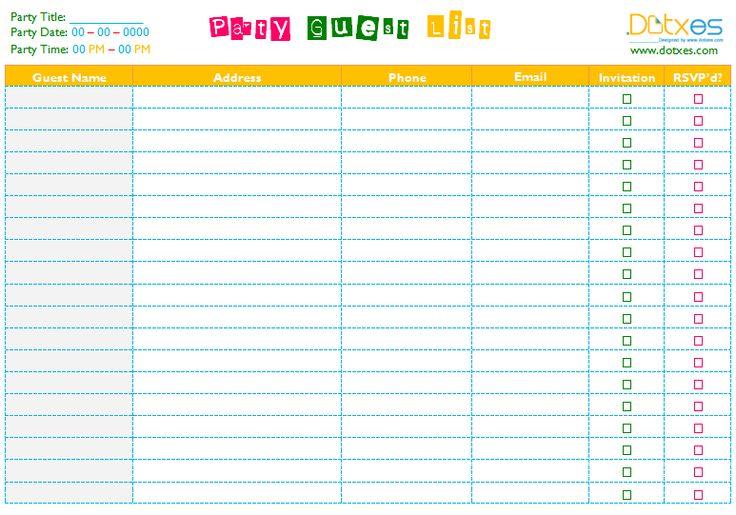 Party Guest List Template Guest List Rsvp Organizer Event Planning - party guest list template