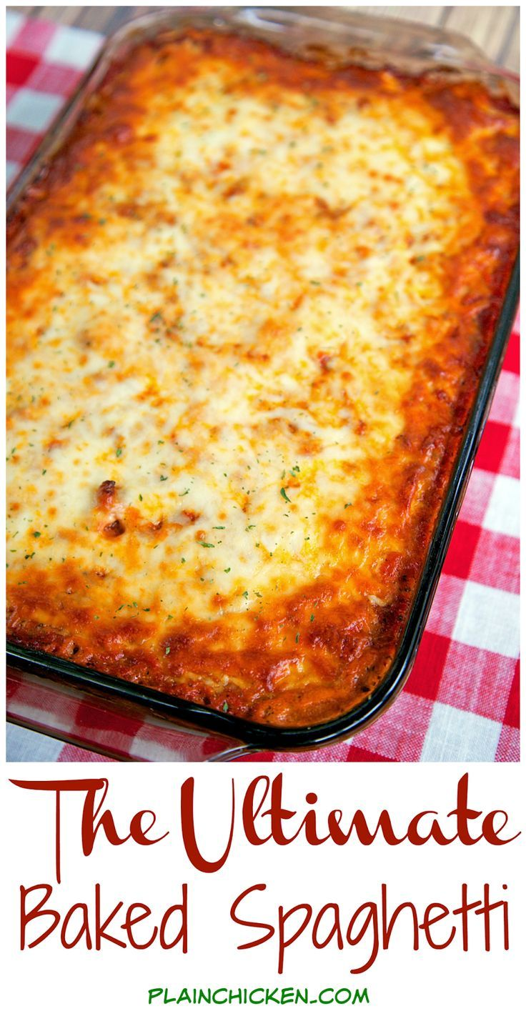 The Ultimate Baked Spaghetti - cheesy spaghetti topped with Italian seasoned cream cheese, meat sauce and mozzarella cheese - SOOOO good! Makes a great freezer meal too! We ate this two days in a row!