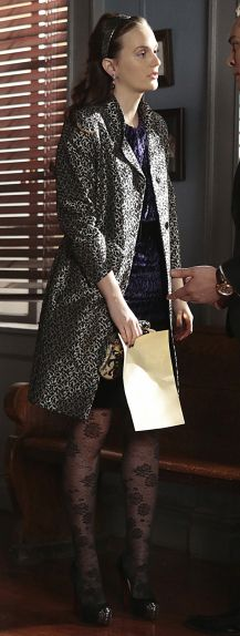Blair's floral tights and metallic coat on the Gossip Girl finale