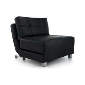Rita Faux Leather Futon Chair Bed in Black
