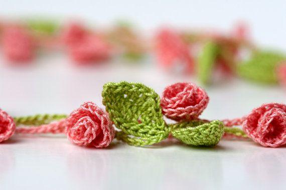Crochet  Rose Garden Necklace (or bracelet, garland, etc)