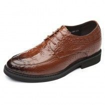 Perfect Elevator Wedding Shoes Height 2.4inch / 6cm Brown Crocodile Grain Formal Shoes