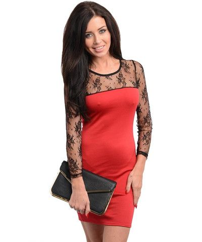 Red Black Lace Sleeves Bodycon Fitted Dress - viXXen Clothing
