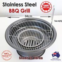 Charcoal Portable Heavy Duty Stainless Steel BBQ Grill Camping Outdoor Round