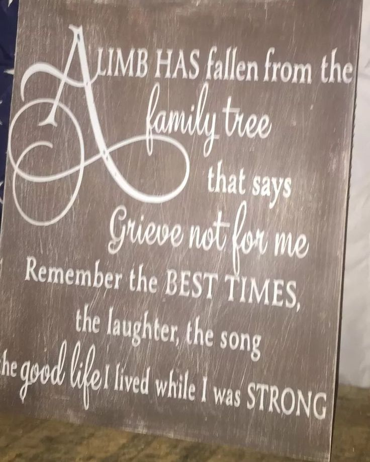 A Limb Has Fallen from Our Family Tree Sign Personalized Death Loss in Memory | eBay