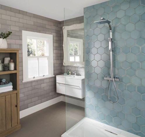 Image result for large hex tile shower