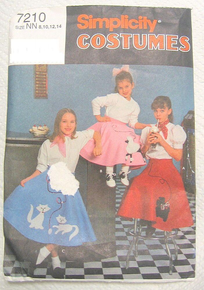 Poodle Skirt Sewing Patterns Girl Sock Hop Simplicity 7210 Halloween