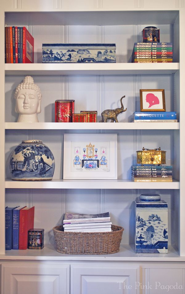The Pink Pagoda Blog.   Love the styling of this built-in bookcase. Showing off all the treasures from travels