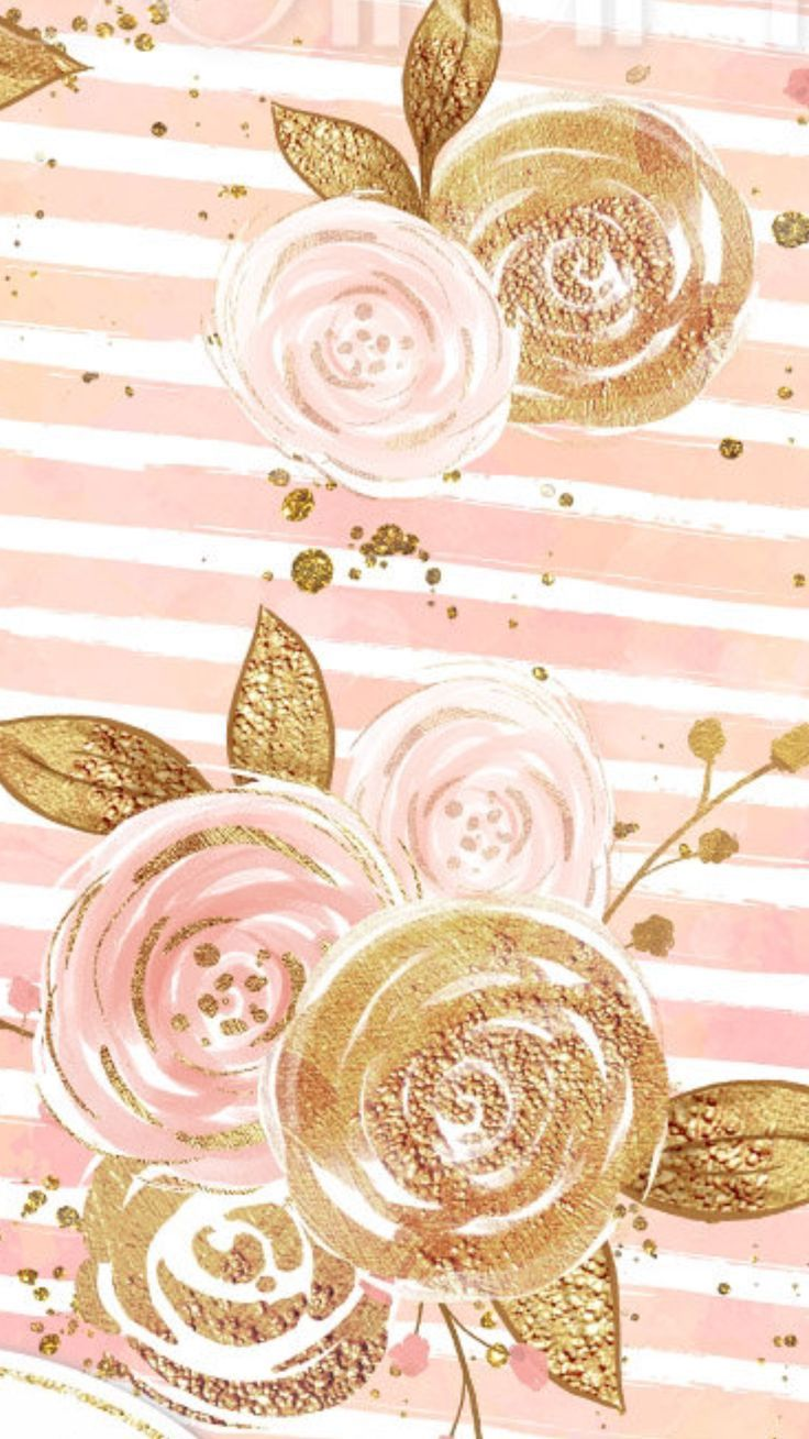 Gold and pink roses wallpaper pattern with images gold