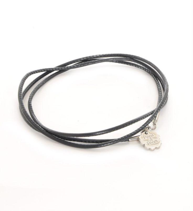Pimps & Pearls handgemaakte leren ketting model Rocks 2. Deze ketting is zowel lang als kort te dragen - Antraciet - NummerZestien.eu