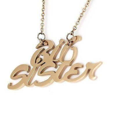 Monogram Big Sister Gold Necklace Gold Infinity Pendant Necklaces Set (2pcs) - TZARO Jewelry - 2