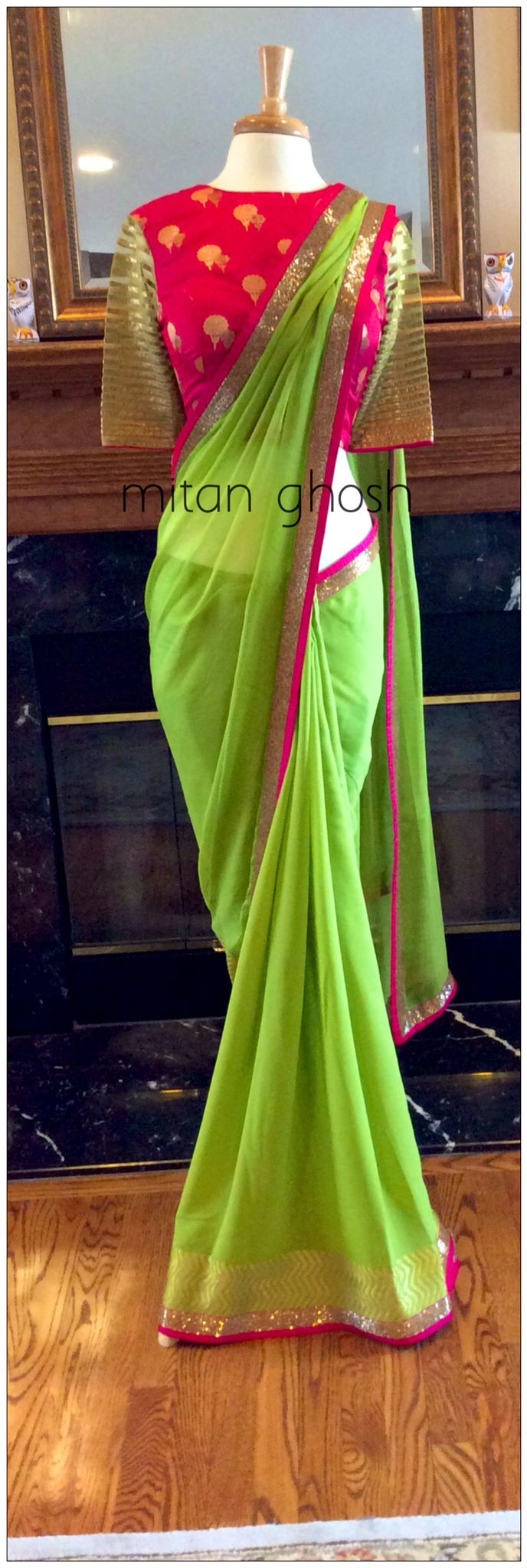 Georgette woven saree with Chiffon Palla. Banarsi brocade blouse.