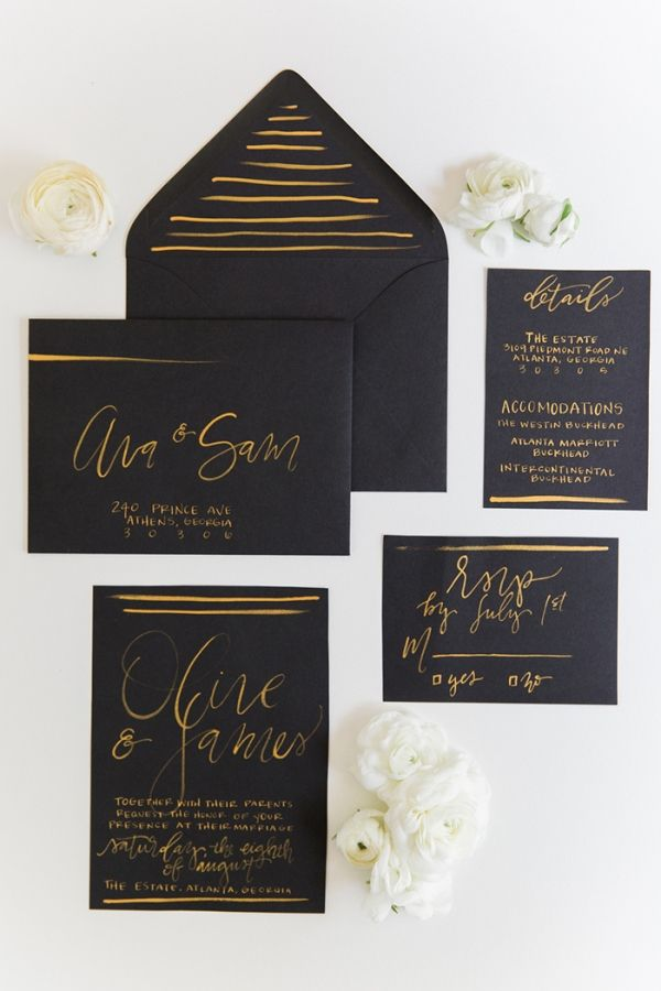 Modern Black and Gold Calligraphy Wedding Invitations | Kathryn McCrary Photography | http://heyweddinglady.com/organic-industrial-wedding-ideas-black-gold/