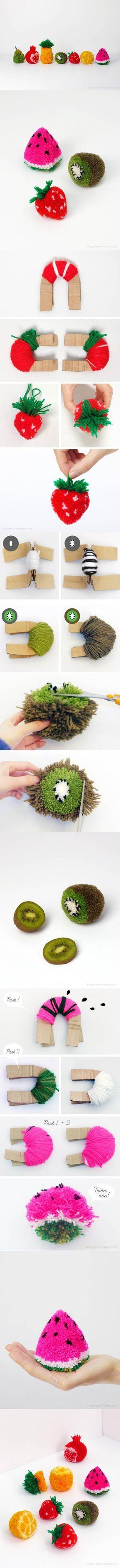 DIY : pompons en forme de fruits. pompom fruit