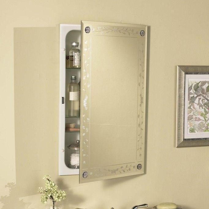 Venetian Engraved Beveled Mirror Bathroom Medicine Cabinet With Rosettes 8211 Bathroom
